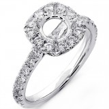 0.82 Cts Diamond Halo Engagement Ring Setting Set in 18K White Gold
