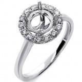 0.31 Ctw Halo Diamond Engagement Ring Setting Set in 18K White Gold