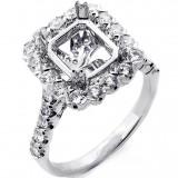 1.08 Cts Halo Diamond Engagement Ring Setting Set in 18K White Ring