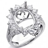 1.72 Cts Halo Diamond Engagement Ring Setting set in 18K White Gold