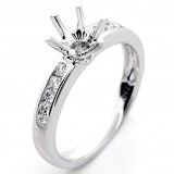0.25 Cts Round Cut Diamond Engagement Ring Setting set in 18K White Gold