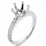 0.71 Cts Round Cut Diamond Engagement Ring Setting set in 18 K White gold