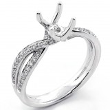 0.34 Cts Round Cut Diamond Twisted Ring Setting set in 18k White Gold