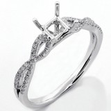 0.14 Cts Round brilliant Cut Diamond Engagement Ring Setting set in 18K White Gold