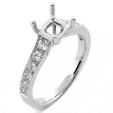 0.55 Cts Round Brilliant Cut Diamond Engagement Ring Setting set in 18K White Gold