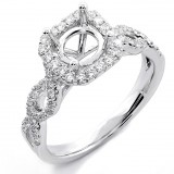 0.47 Cts Round Cut Diamond Engagement Ring Setting with Twisted Band set in 18K white gold