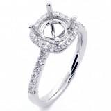 0.43 Cts Round Cud Diamond Cushion Halo Engagement Ring Setting set in 18K White Gold