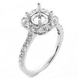 0.94 Cts Round Cut Diamond Cushion Shape Halo Engagement Ring Setting set in 18K White Gold