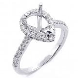 0.52 Cts Round Cut Diamond Drop Shape Halo Engagement Ring Setting set inn 18K White Gold