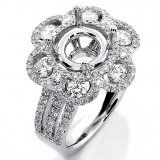 1.55 Cts Round Cut Diamond Engagement Ring Floral Design set in 18K White Gold