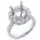 2.01 Cts Round Cut Diamond Halo Engagement Ring set in 18K White Gold