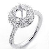 0.48 Cts Round Cut Diamond Double Halo Engagement Ring Settings set in 18K White Gold