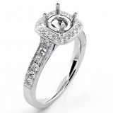 0.51 Cts Round Cut Diamond Cushion Halo Engagement Ring Setting set in 18K White Gold