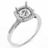 0.32 Cts Round Cut Diamond Cushion halo Engagement Ring setting set in 18K White Gold