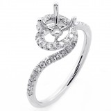 0.33 Round Cut Diamond Engagement Ring set 18K White Gold