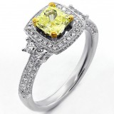 1.86 Cts Cushion Cut Yellow Diamond Engagement Ring Halo set in 18K White Gold