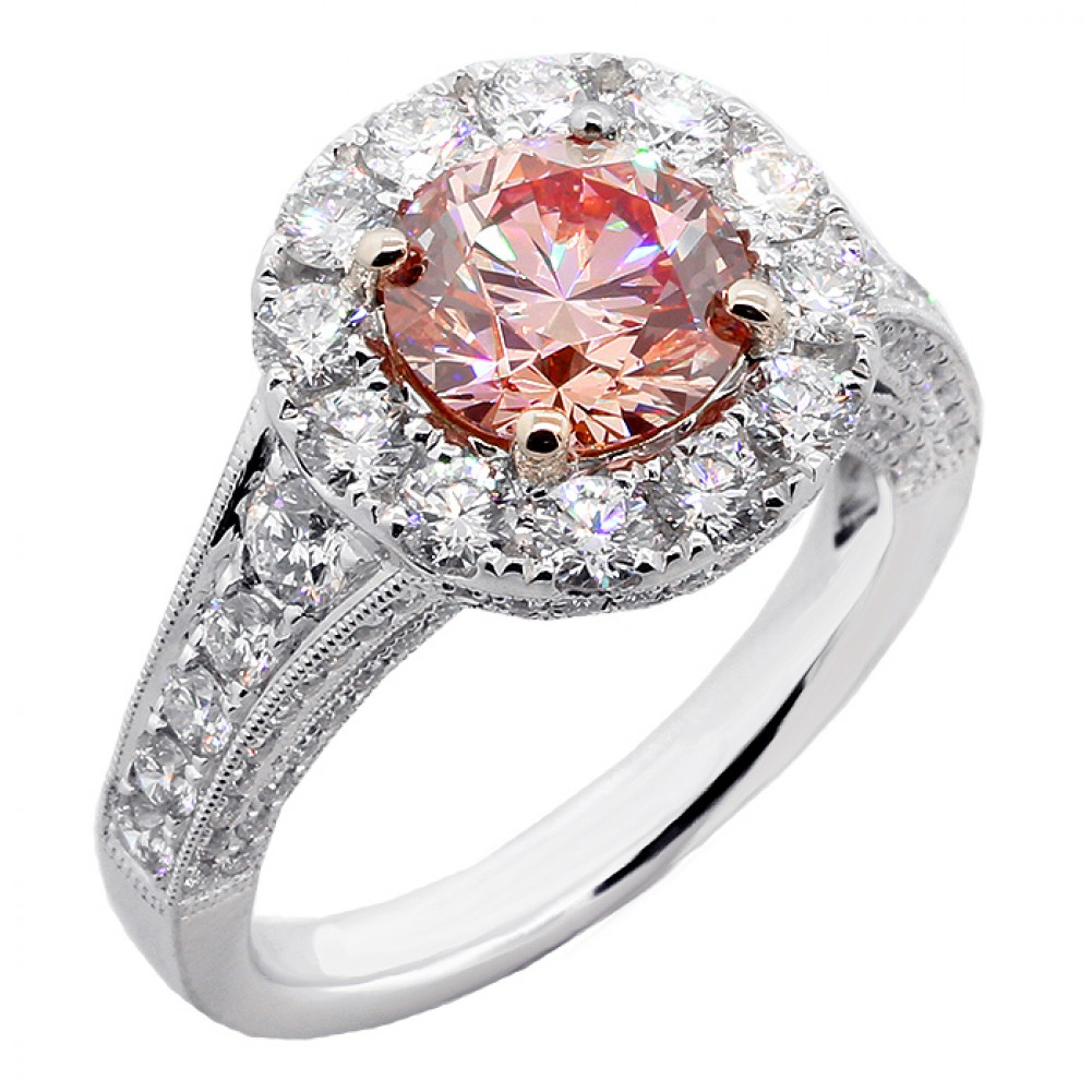 Charming 3.68 CTS ROUND CUT FANCY PINK ENGAGEMENT RING SET IN PLATINUM ...