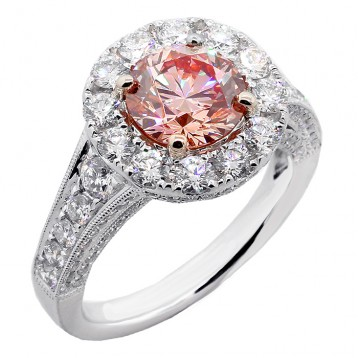 3.68 CTS ROUND CUT  FANCY PINK ENGAGEMENT RING SET IN PLATINUM