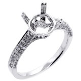 0.41ct. tw. Round Cut Diamond Engagement Ring Setting 18k white gold.
