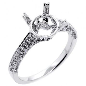 0.41ct. tw. Round Cut Diamond Engagement Ring Setting 18k white gold.