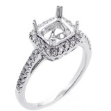 18K white gold cushion halo diamond engagement ring setting