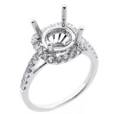 0.63 Cts diamond halo engagement ring set in 18 K white ring