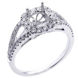 0.58 Cts diamond halo engagement ring setting with split shank set in 18K white gold