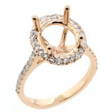 Oval halo diamond engagement ring setting set in 14 k pink gold