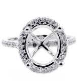 0.65 Cts oval halo diamond engagement ring setting set in 14 k white gold