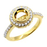 0.40 Cts Round cut Halo Diamond Engagement ring Setting set in 14K yellow gold