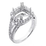 1.60 Cts Round Cut Diamond with Cushion Shape Halo Engagement Ring set in 18K White Gold
