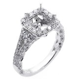 0.60 Cts Cushion Shaped Halo Diamond Engagement Ring Setting set in 18K white gold