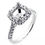 0.52 Diamond Halo Engagement Ring Setting set 18K white gold