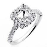 0.56 Cushion Shaped Halo Diamond Engagement Rong Setting set in 18K white gold