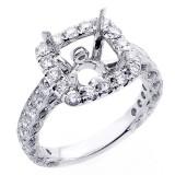 1.90 Cts Cushion Shaped Halo Diamond Engagement Ring Setting set in 18K white gold