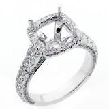 1.50 Cts  Cushion Shaped Halo Diamond Engagement Ring set in 18 K white gold