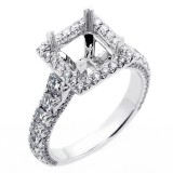 1.55 Cts Diamond Princess Shaped Halo Engagement Ring Setting set in 18K white gold