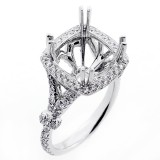 1.00 Cts Cushion Shaped Diamond Engagement Ring Setting set in 18K white gold