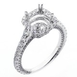 1.21 Cts Cushion Shaped Halo Diamond Engagement Ring Setting set in 18K white gold