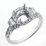 0.83 Cts Three stone Diamond Engagement Ring Setting set in 18K white gold