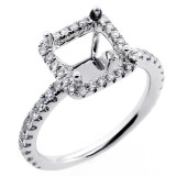 0.55 Cts Diamond Princess Shaped Halo Engagement Ring Setting set in 18K white gold