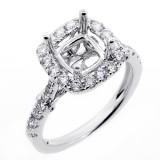 0.70 Cts Diamond Cushion Shaped Halo Engagement Ring Setting set in 18 k white gold