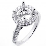 0.73 Cts Halo Diamond Engagement Ring Setting set in 18K white gold