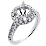 1.00 Cts Halo Diamond Engagement Ring set in 18k white gold