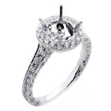 0.92 Cts Vintage halo Diamond Engagement Ring Setting set in 18k white gold