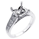1.50 Cts Diamond Princess cut Diamond Engagement Ring Setting set in 18 k white gold