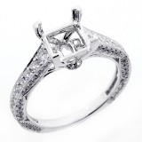 0.90 Cts Vintage Diamond Engagement Ring Setting set in 18K white gold
