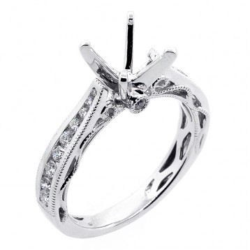 0.40 Cts  Diamond Engagement Ring Setting set in 18K white gold