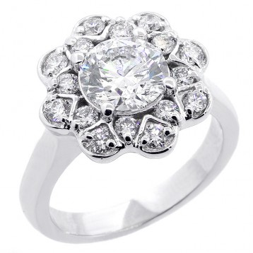 Round Cut Floral Design  Diamond Engagement Ring Setting set in 18K white gold