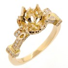0.29 CTS VINTAGE DIAMOND ENGAGEMENT RING SET IN 18K YELLOW GOLD